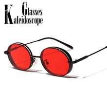 50136e5c15 Pequeño redondo gafas de sol de las mujeres hombres Steampunk Vintage gafas  de sol gafas rojas hombre marca de lujo de diseño Re.