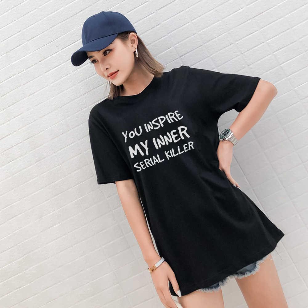 ฤดูร้อนพิมพ์ O - Neck Tops เสื้อฝ้ายเสื้อยืดความแปลกใหม่ตัวอักษรที่น่ากลัวพิมพ์สตรีเสื้อลำลอง camisetas mujer