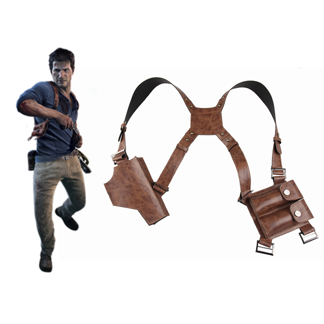 Manles Nathan Drake Shoulder Strap With Holster Uncharted 4 A Thief's End Leather