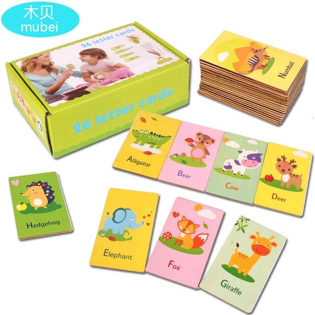 Mubei nuevos juguetes de madera animales de tarjeta cognitiva, palabras y letras en inglés Tarjeta de madera para niños juguetes educativos de madera Montessori