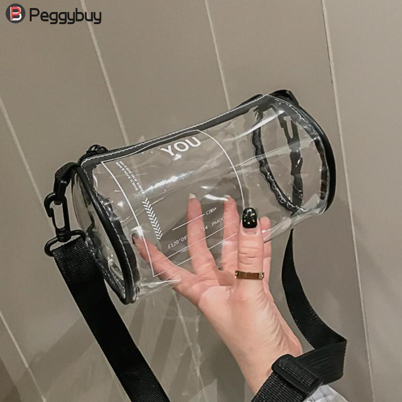 Round Clear Crossbody Bag Messenger Handbag Tote Shoulder Purse , Transparent, Waterproof, PVC Jelly Shoulder Bags