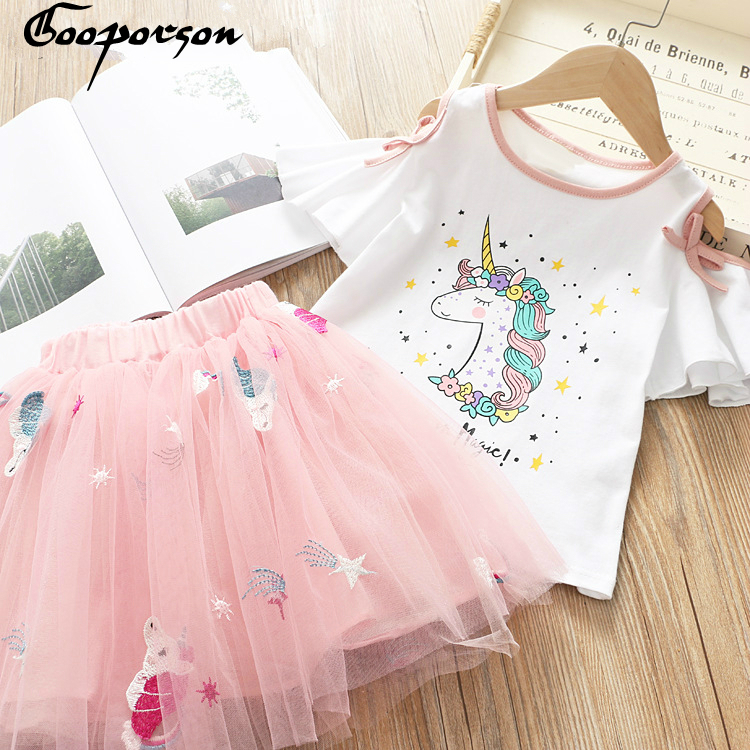 Kids Girls Summer Clothes Set Unicorn Printed Toddler Baby  Clothes  Set Cute Unicorn Embroidery Tutu Skirt Sets 2019 New StyleKids Girls Summer Clothes Set Unicorn Printed Toddler Baby  Clothes  Set Cute Unicorn Embroidery Tutu Skirt Sets 2019 New Style