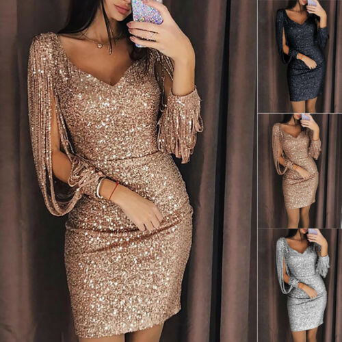 Women Mini Dress Bodycon Bandage Evening Party  Tassel Black Silver Rose Gold Dress V Neck Sequin Fringe Chic Dress Clubwear