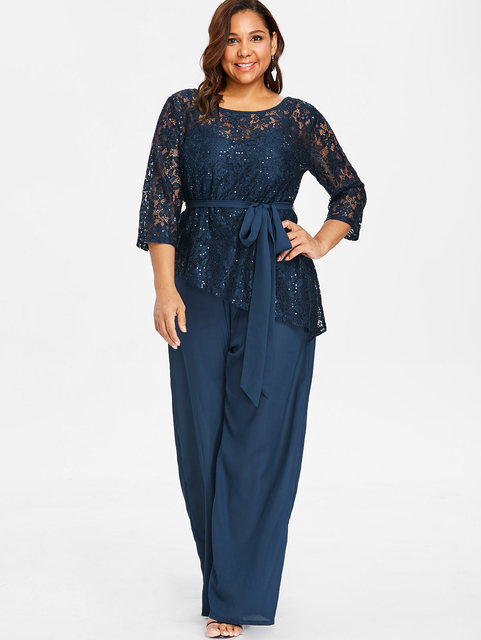Wipalo Women Plus Size 5XL Wide Leg Jumpsuit With Lace Blouse Casual Solid  Belted Two Piece dc8a34fc5ed7