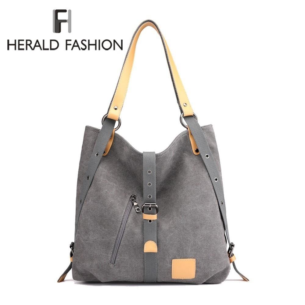 Herald mode grande poche fourre-tout décontracté femmes Sac à main épaule sacs à main toile cuir capacité sacs pour femmes Bolsas Sac