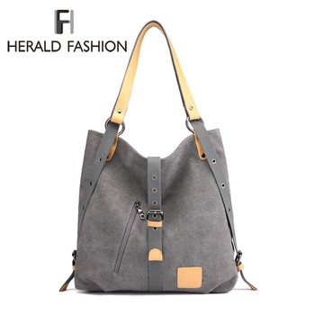 Herald Fashion Large Pocket Casual Tote Women's Handbag Shoulder Handbags Canvas Leather Capacity Bags For Women Bolsas Sac - discount item  38% OFF Women's Handbags