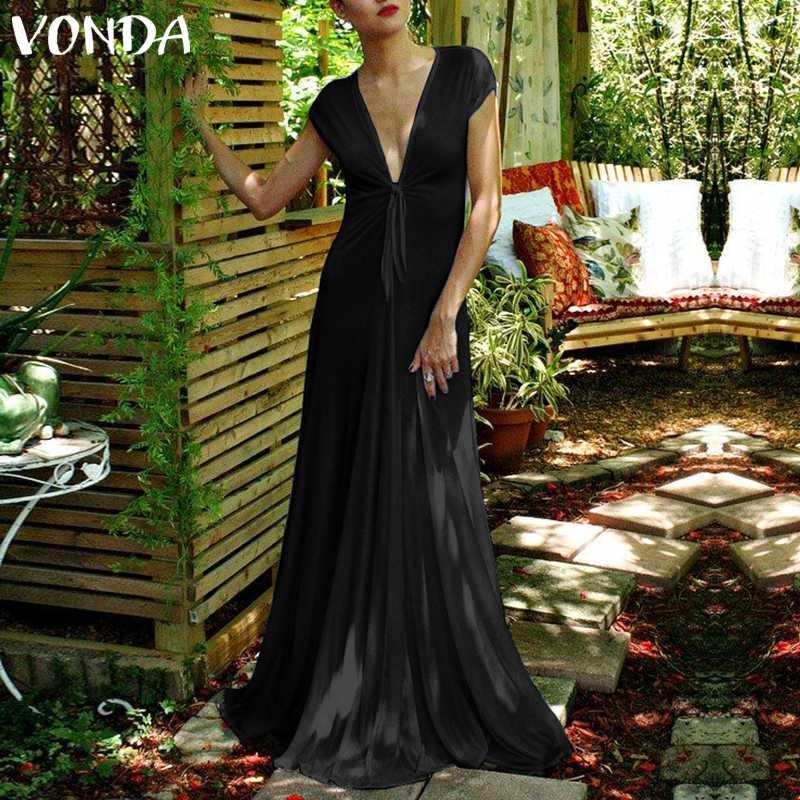 VONDA, сексуальные вечерние платья макси, женские 2019 летние богемные Клубные платья с v-образным вырезом, Длинные платья длиной до пола, элеган...
