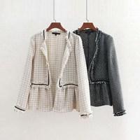 Women Vintage Open Stitch Tassel Jacket Patchwork Tweed Plaid Coat White/Black Ruffles Loose Outwear