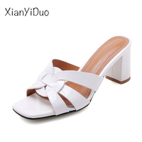 xianyiduo 2019 new Summer fashion Women's Shoes Slippers super high heel open toe pink White plus size 40 43 flip flops /V15662