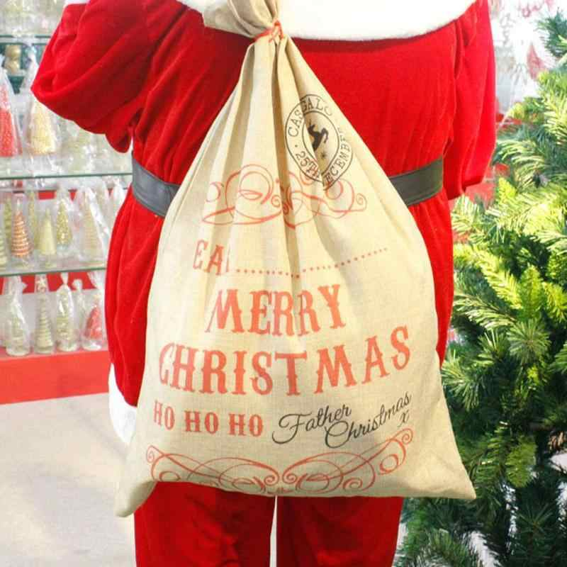 Big Size Merry Christmas Linen Gift Bag 2019 Santa Claus Sacks Drawstring Candy Bag Natal Noel New Year Xmas Home Decor Gift Bag