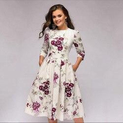 OLN 2019 moda kobiety Plus rozmiar elegancka Sukienka z długim rękawem, dekolt w kwiaty, sukienki damskie Sukienka Femme Vintage sukienki Vestido 2