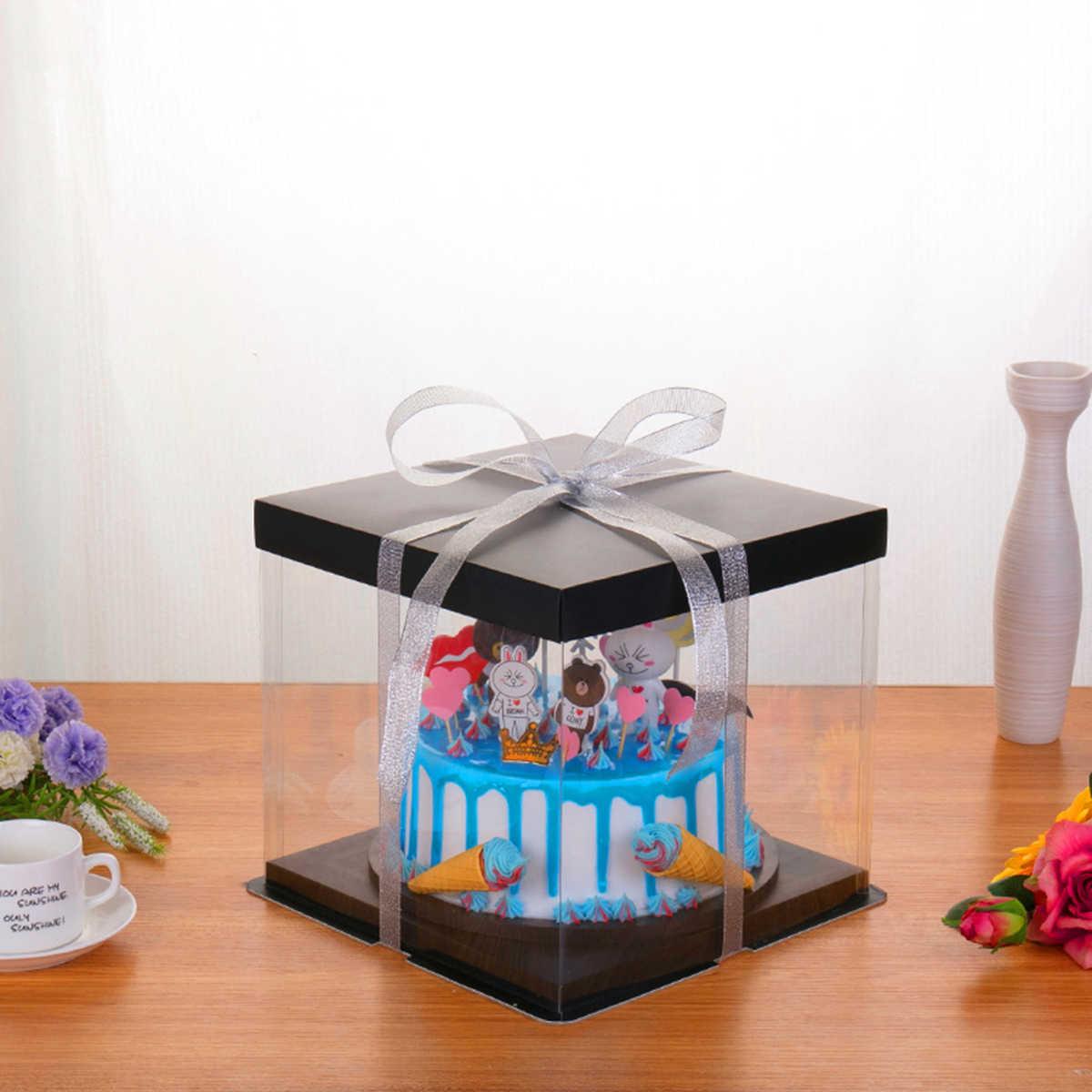 โปร่งใสเค้กกล่องสแควร์เบเกอรี่มัฟฟินบรรจุภัณฑ์ Cupcake Carrier คอนเทนเนอร์พร้อมฝาปิด (10/13 นิ้ว)