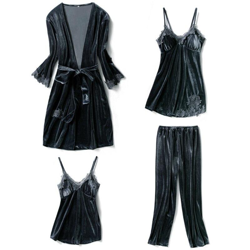 4 pièces velours femmes nuisettes haut sexy + pantalon + robes de nuit + Robe ensemble Robe de nuit pyjama ensembles bain Robe Lingerie rose hiver