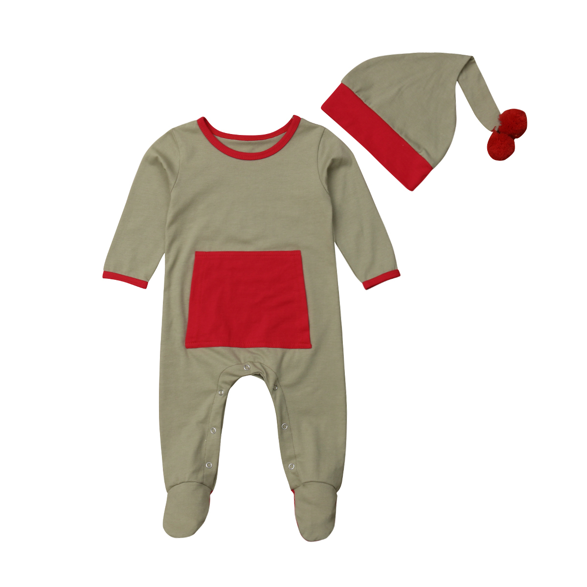 Santa Elf Baby Boy Girl Christmas Romper Clothing Newborn One-piece Jumpsuit Hat Party Clothes Set Cotton 2pcs Baby 0-18M
