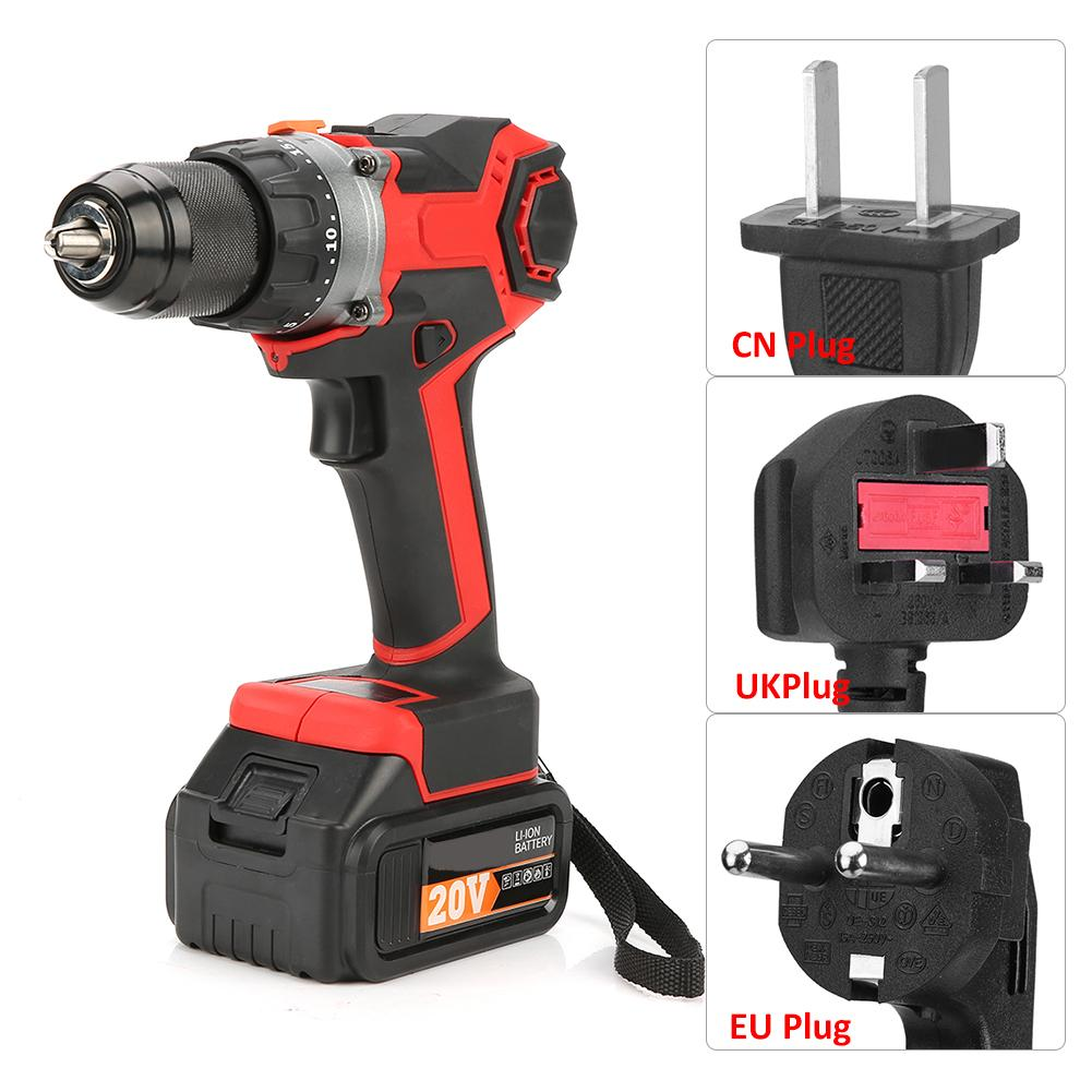 Rechargeable Li ion Cordless Brushless Electric Drill Household Power Tool 220V Electric Drills