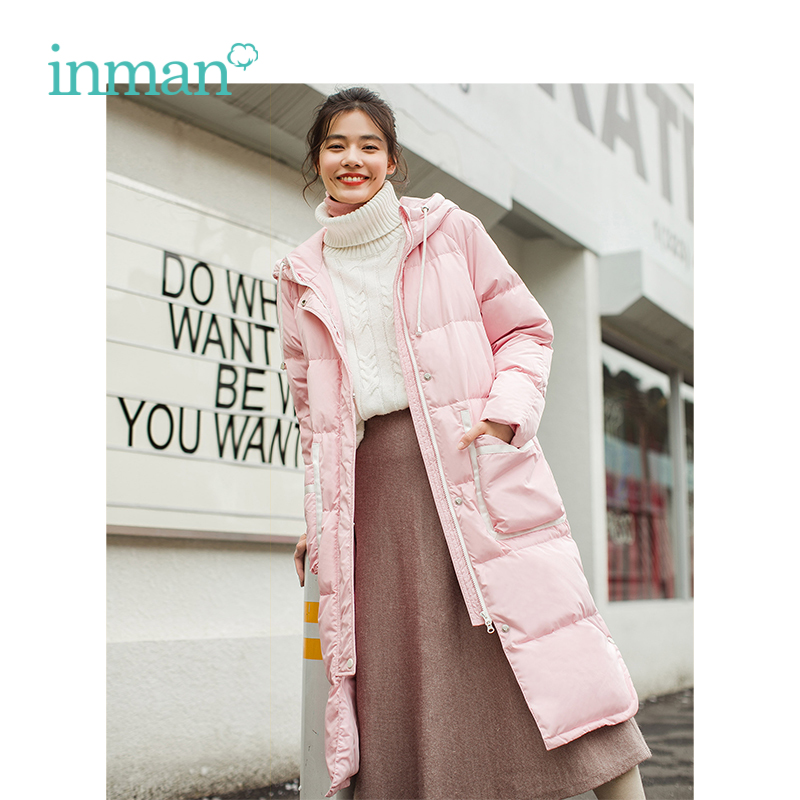 INMAN Winter New Arrival Pink Hooded Warm Windproof Teenage Girl Reduce Age Female   Down     Coat