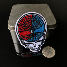PGY Brain Human Skeleton Head Patches Wisdom Tree Iron On for Clothing Back Rubber Embroidery Diy Embroidered Badges