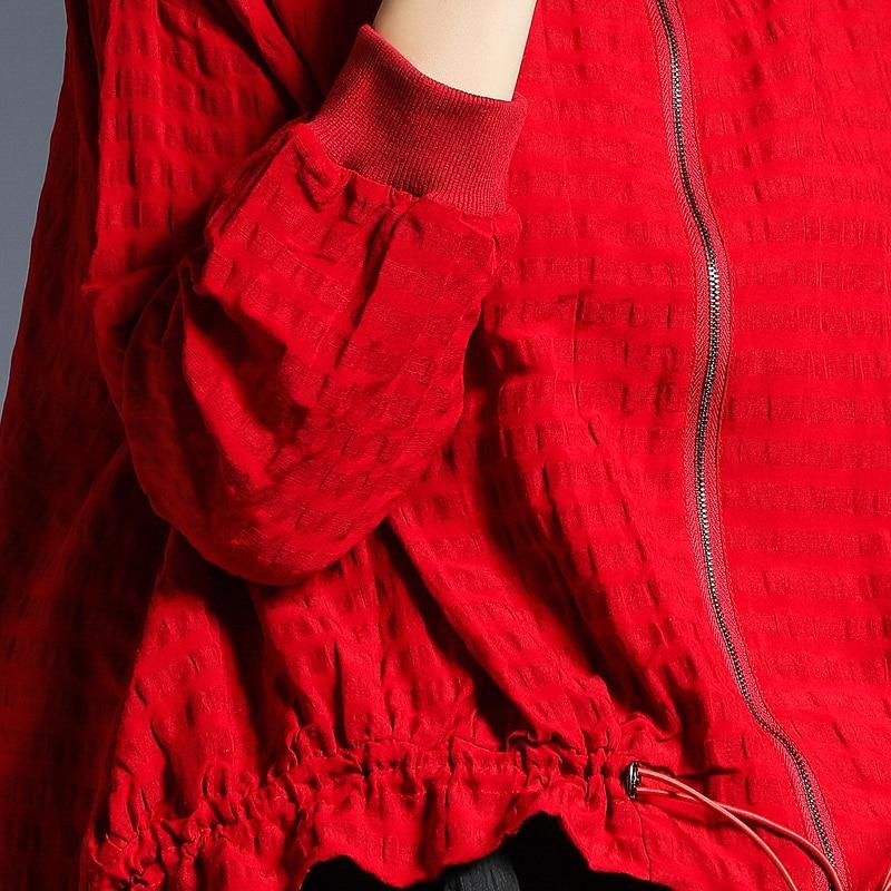 Black Lâche Col Les Nouvelle Taille Plissée Couleur Éclair red Femme Li207 Montant Fermeture Printemps 2019 Longues Grande Manches Sélections Unie À Élégante Manteau eam Toutes Rn6AgvwxqW