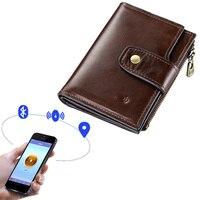 Men USB GPS Locator Smart Wallet Bluetooth Faux Leather Wallet Hasp Big Capacity Anti lost Card Slots Anti theft Zipper Wallet^