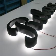 من السهل تركيب الفولاذ المقاوم للصدأ أحرف مضيئة ليد الضوء الخلفي لمتجر الجبهة اسم الإعلان علامة دبوس شنت الحروف على الحائط