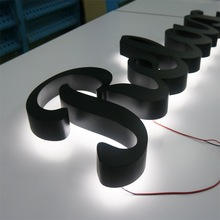 Einfache montage edelstahl led letters zurück licht für shop front name werbung zeichen pin montiert buchstaben auf die wand