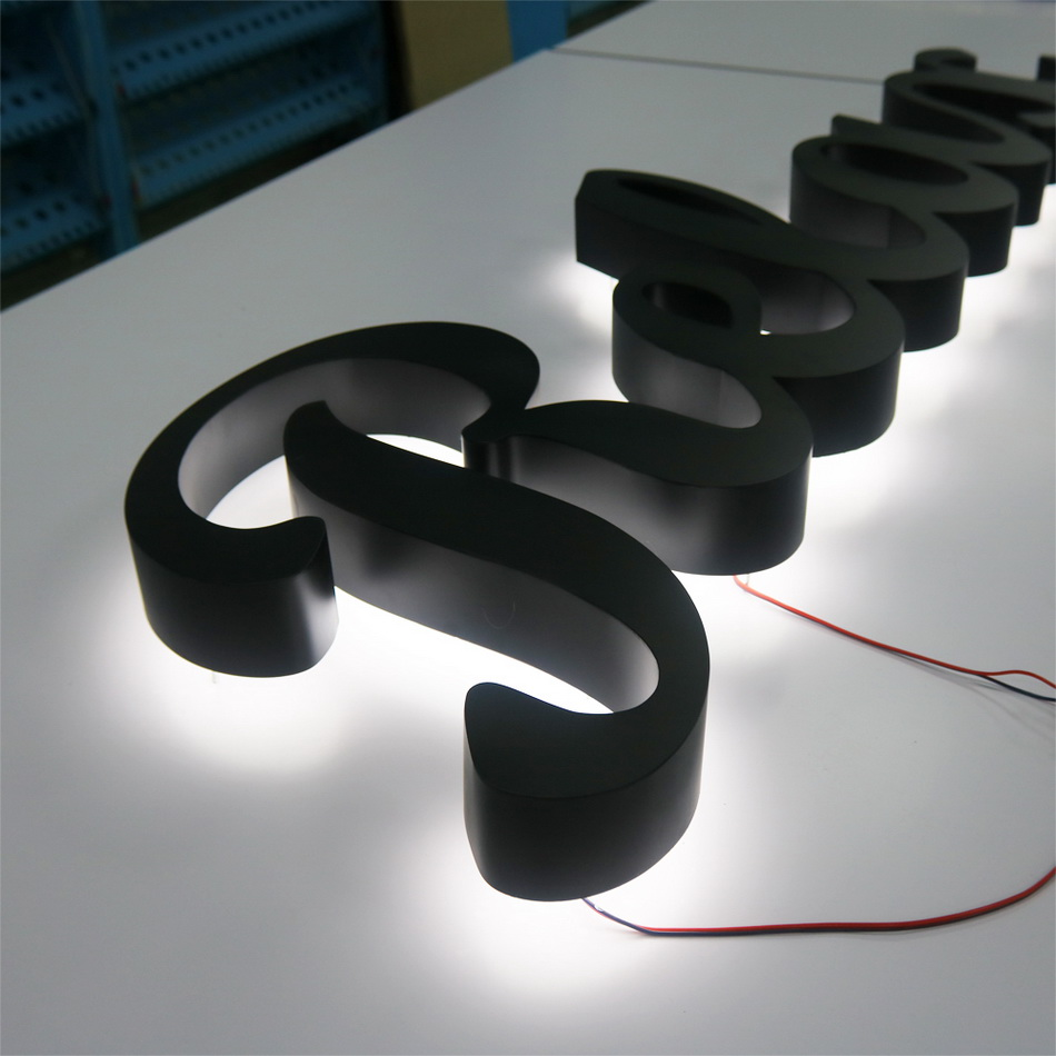 Stainless Steel Led Letters Back Light For Shop Front Name Advertising Sign