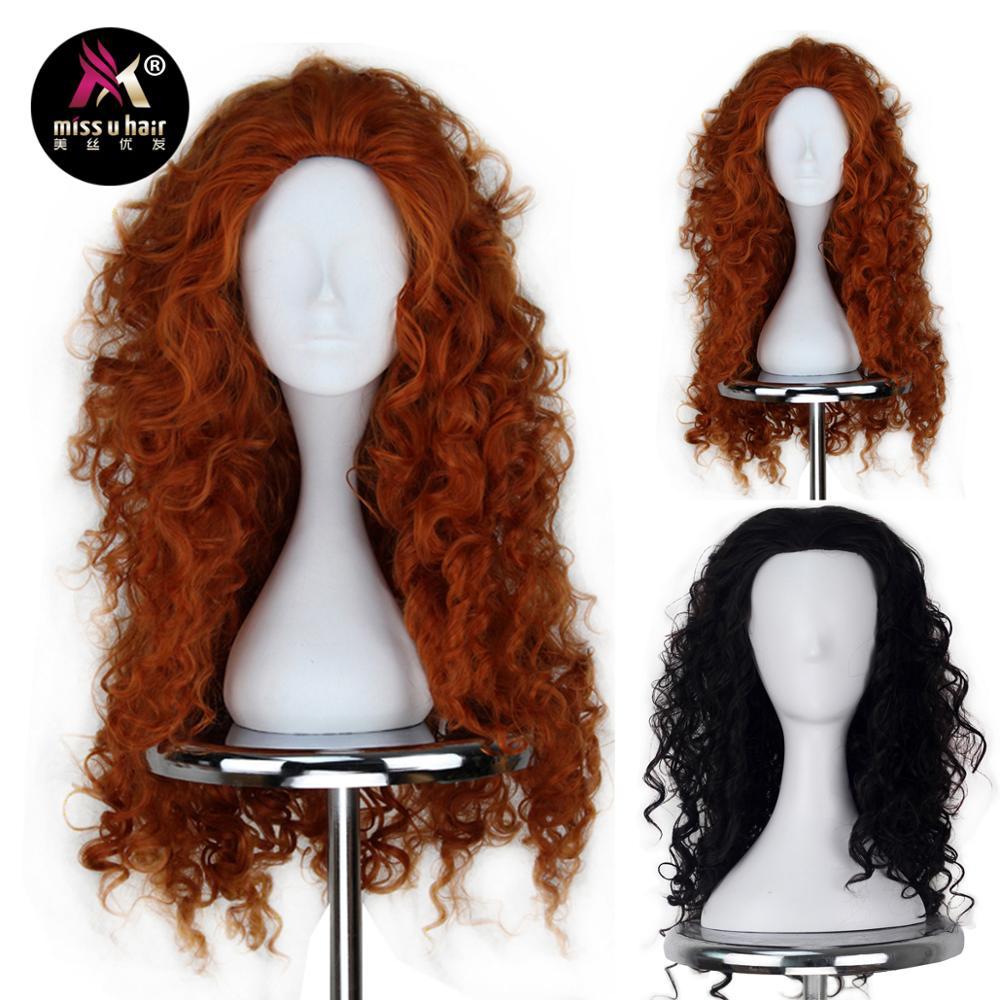 Miss U Hair Women Fluffy Long Reddish Copper Brown Black Color Curly Hair Halloween Cosplay Costume Wig Adult