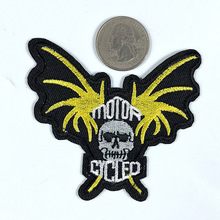 PGY Punk Wind Rock Wing Embroidery Patches Iron On Human Skeleton Head Badges Bleached Bones Back Rubber Sew Appliques