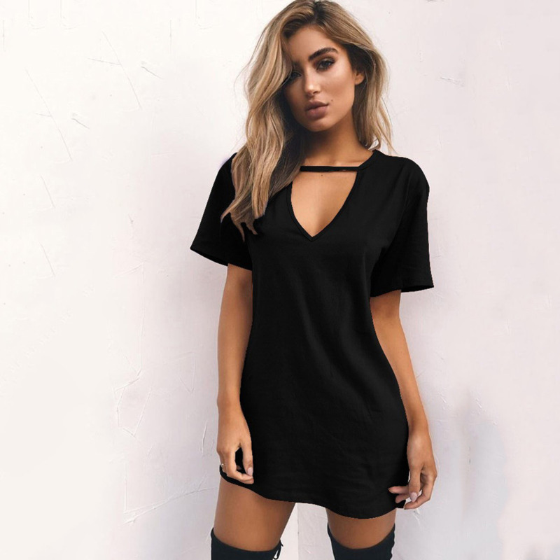 Casual T Shirt <font><b>Dress</b></font> Summer <font><b>Sexy</b></font> Mini <font><b>Dresses</b></font> Plus Size Hollow Out V Neck Short Sleeve Solid Black <font><b>White</b></font> Ladies Vestido L30 image