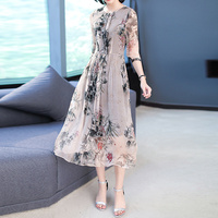 2019 New Spring Summer Women dress Print Pure Long Loading Watered Gauze Silk Dresses Design And Color 6872