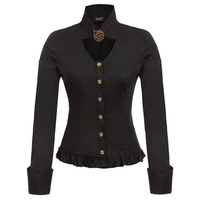 Long sleeve Shirt Tops Stand collar Victorian Solid Party Autumn Blouse Ladies