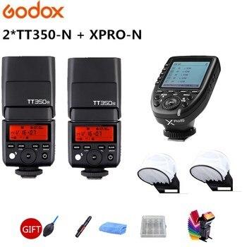 2x Godox TT350N GN36 2,4G inalámbrico HSS 1/8000s TTL Flash Speedlite + Xpro-N transmisor para Nikon D750 D7200 D7000 D5100 D7100