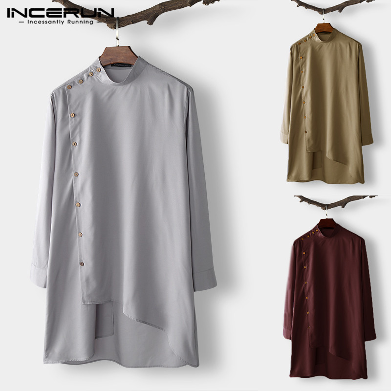 eb55aa8f4dd0 Brand Hombre Long Shirt Indian Kurta Suits Men Dress Shirts Mandarin Neck Kaftan  Muslim Islamic Clothes