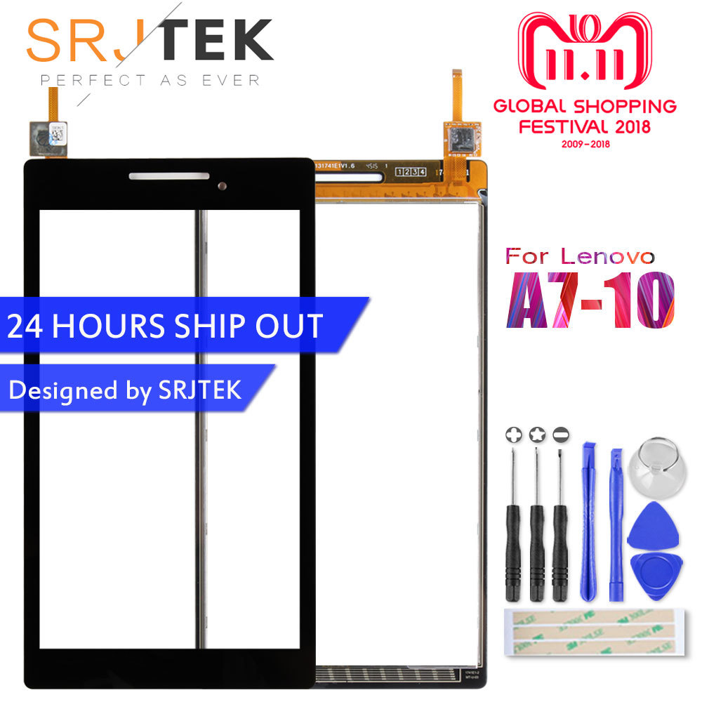 цена на SRJTEK 7 Touchscreen For Lenovo Tab 2 A7-10 A7-10F A7-20 A7-20F Touch Screen Sensor Tablet PC Replacement For A7-10 Digitizer