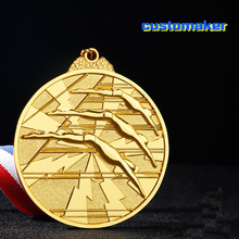 10pcs custom make  customize medals and trophies swimming competition awards gold/silver/copper sports design Prize with ribbon oscar metal trophy custom crystal trophies medals company annual year end awards competition activities