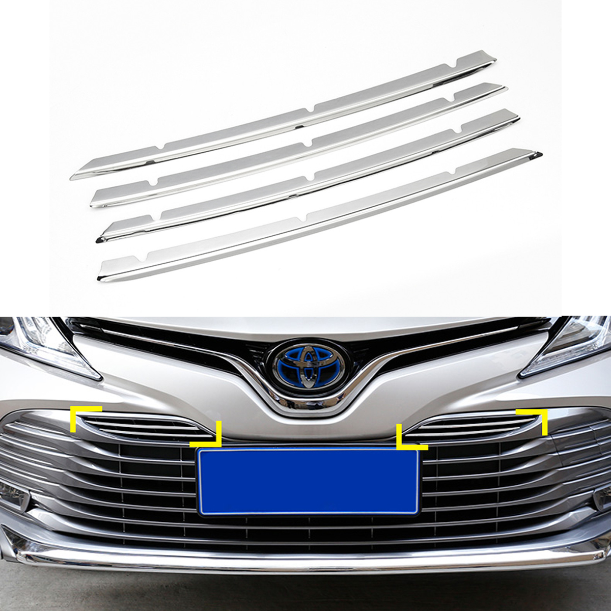 For Toyota Camry 2018 Front Mesh Grille Stainless Steel Trim Strip Sticker Front Grille Molding Car Styling Accessories 4pcs/set grille