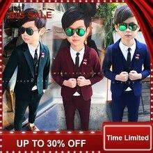 Wedding Flower Boy Dress High Quality Child Blazer suits Slim and gentle Solid Color Kid Suits Jacket shirt pant vest
