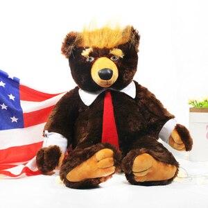 "Image 1 - 60cm דונלד טראמפ דוב בפלאש צעצועי מגניב ארה""ב נשיא דוב עם דגל חמוד בעלי החיים דוב בובות טראמפ בפלאש ממולא צעצוע ילדי מתנות"
