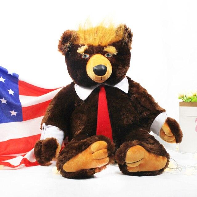 "60cm דונלד טראמפ דוב בפלאש צעצועי מגניב ארה""ב נשיא דוב עם דגל חמוד בעלי החיים דוב בובות טראמפ בפלאש ממולא צעצוע ילדי מתנות"
