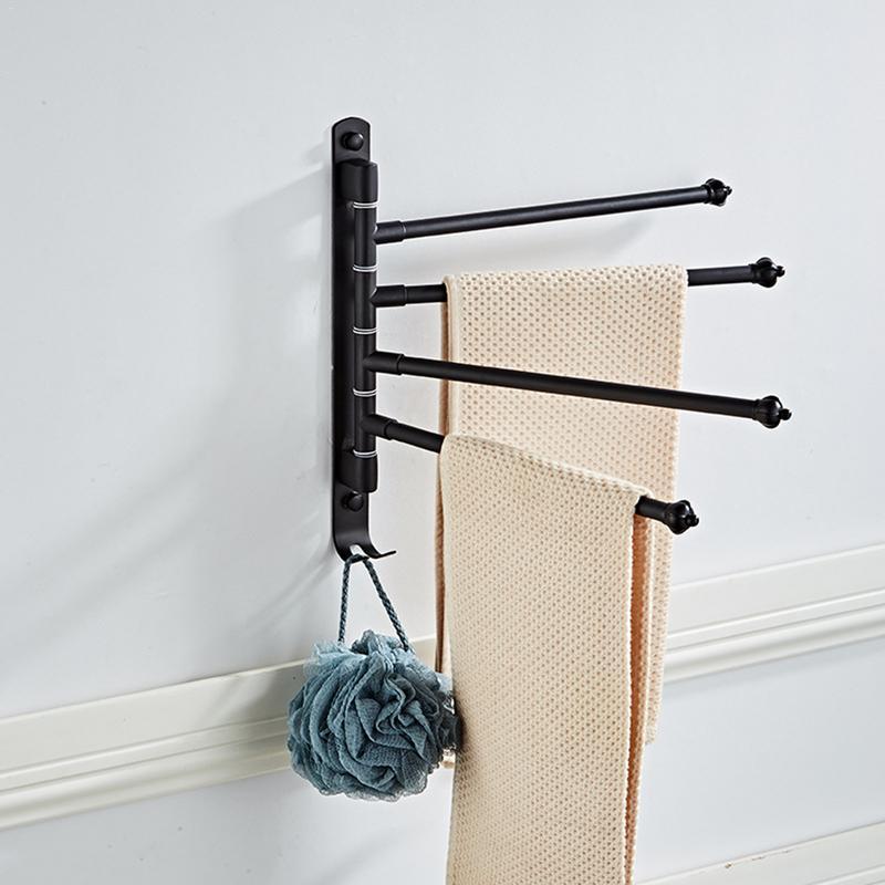 Towel Rack 180 Degree Rotating Stainless Steel Towel Movable Towel Bar Hook 4 Arms Simple Fashion Bathroom Towel Bracket