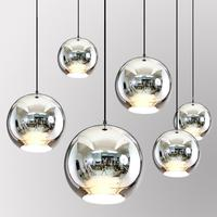 Nordic Dixon pendant lamp Mirror Glass Ball Pendant Lights Copper Color Globe Modern Lighting Fixtures hanging lamp luminaire
