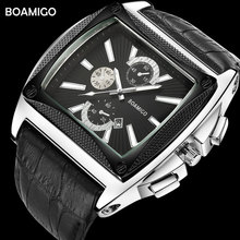 BOAMIGO Brand Luxury Casual Mens Watches Genuine Leather Quartz Watch Men Auto Date Wristwatches Black For Man Wristwatch