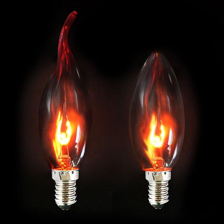 E14 E27 3W Edison Filament Candle Flicker Light Bulb Fire Flame Tail Retro Decor