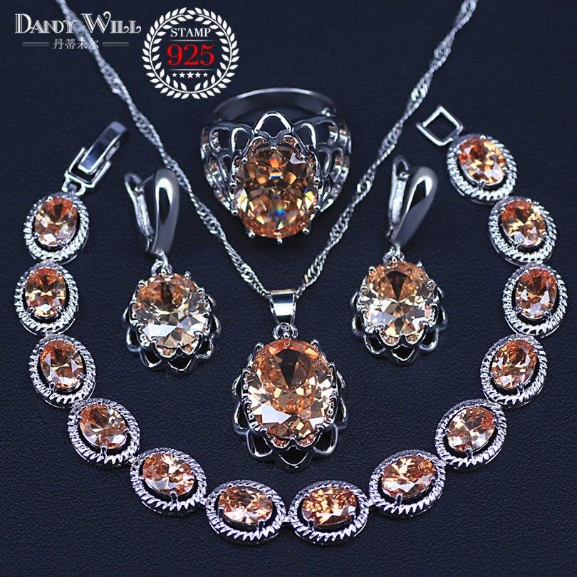 925 Sterling Silver Bridal Jewelry Champagne Zircon Jewelry Sets For Women Earrings/Pendant/Necklace/Rings/Bracelet