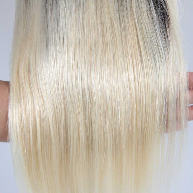 Hermosa reina 5*5 recta 1B/613 parte libre Cierre de encaje 10A pelo humano brasileño cabello virgen blanqueado nudos 130 de densidad