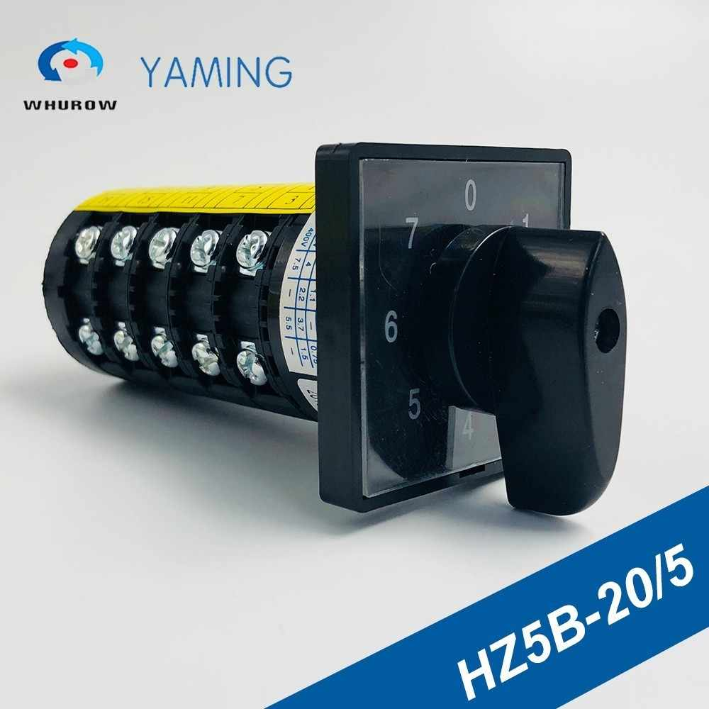 7 position Rotary Switch 20A 660V 5 poles Custom Cam Changeover switches screws universal manual electrical HZ5B-20/5