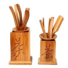 7 шт./компл. ручной работы чайные наборы кунг-фу Винтаж нож для Пуэра ложка Чай набор инструментов Чай церемонии посуда китайский бамбуковый зажим ситечко
