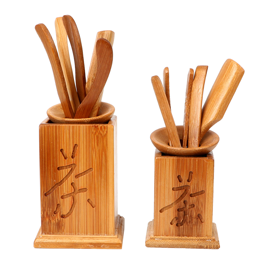 7 Piece/set Handmade Kung Fu Tea Sets Vintage Puer Knife Spoon Tea Tools Set Tea Ceremony Utensils Chinese Bamboo Clip Strainer