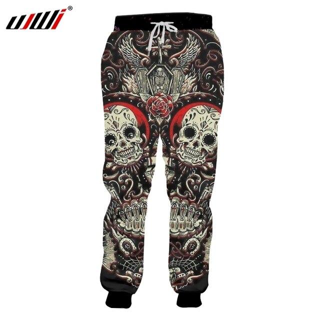 UJWI Men's Casual Sweat Pant Joggers Harem Pants Funny Print Embroidery Skull 3d Sweatpants Unisex Slim Fit Full Length Pants