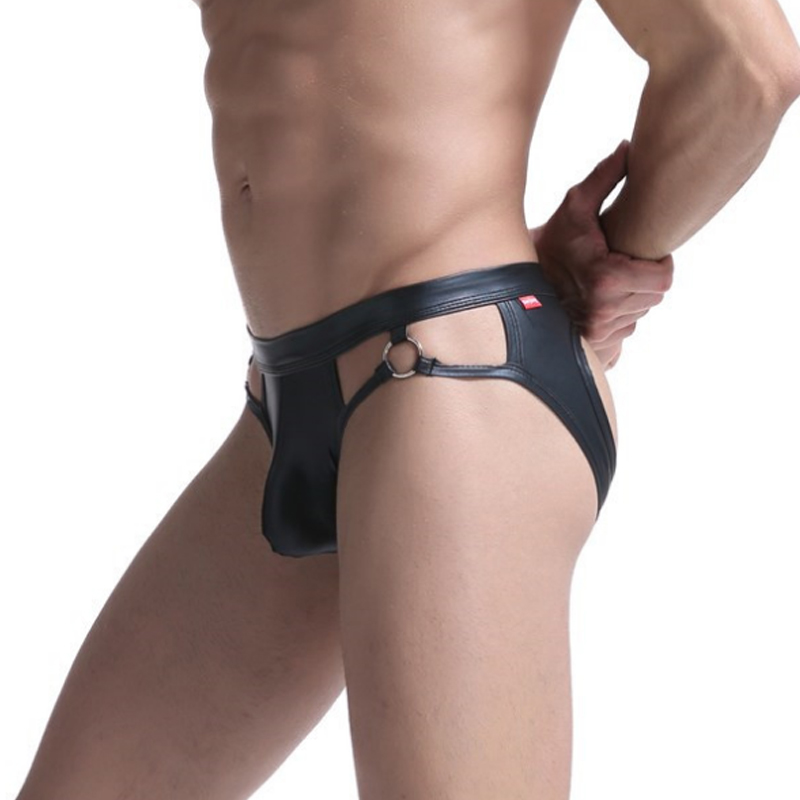 Fashion Gay Men PU Leather Sexy G Strings Underwear Jockstrap Mens Thongs  Underwear Men Erotic Penis Men's Thongs String